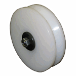 """U.M.H.W. """"WHITE"""" PLASTIC 6"""" X 1-9/16"""" """"DELUXE"""" V-GROOVE ASSEMBLY (W/BEARING)"""